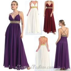 Long Military Ball dress in color Purple, Ivory, Fuchsia/Pink & more -  style in Chiffon - $98 - Dress URL: http://www.jessicasfashion.com/a-stunning_prom-dress.-f576.html #dress #dressshopping #fashion  #chiffondress #chiffondresses  #longdress #longdresses