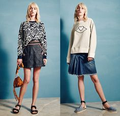 See by Chloé Paris 2016 Spring Summer Womens Lookbook Presentation - New York Fashion Week - Bohemian Boho Chic Oversized Tunic Shirt Shortall Combishorts Romper Playsuit Knit Sweater Jumper Skirt Frock Babydoll Maxi Dress Espadrilles Frayed Raw Hem Denim Jeans Shorts Cutoffs Sheer Chiffon Tulle Lace Mesh Shirtdress Cardigan Cropped Pants Stripes Cape Cloak Zipper Crop Top Midriff Swimwear Ruffles Embroidery