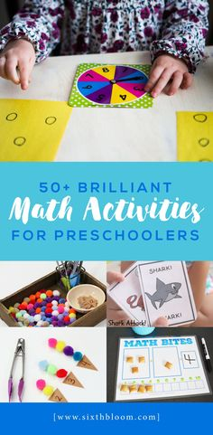 A guide to over 50 Math Activities for Preschoolers. These math activities will help your preschooler engage and problem solve as a three or four year old. Incorporating STEAM Activities for preschoolers paired with early elementary education to enhance their learning. #mathforpreschoolers