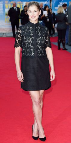 Rosamund Pike hit the world premiere of What We Did on Our Holiday in a demure lace Erdem LBD and black pumps.