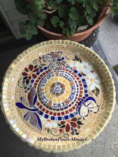 Mosaic Butterfly BirdBath