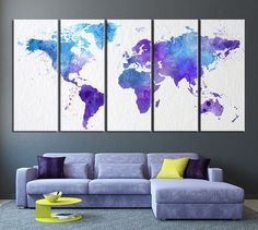 World Map, Art Print, Watercolor, World Map Blue and Purple World Map Print, Extra Large Watercolor World Map Print for Home and Office Wall