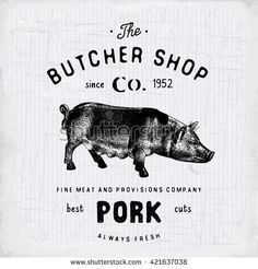 Butcher Shop vintage emblem pork meat products, butchery Logo template retro…