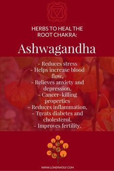 Ashwagandha is perfect for ROOT CHAKRA healing. Click to get the tea ...