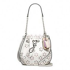 POPPY EYELET LEATHER SMALL DRAWSTRING POUCH #coachpoppyblossom