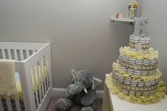 Yellow & Gray diaper cake--elephant theme baby room