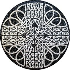 Rosetón de mosaico romano para el suelo Ref. CGEO002 con un diámetro de 50cm
