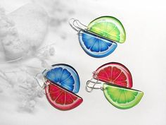 Mismatched earrings Summer tropical earrings #fashion #jewelry #trends2018 #jewelrytrends