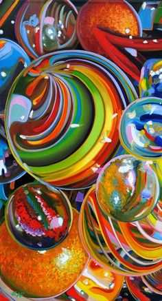 Rainbow colored marbles