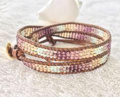 Soft Berry, Peach, Spring Green Beaded Wrap Bracelet - Seed Bead Wrap Bracelet - Light Brown Natural Leather - Leather Wrap Bracelet Beachy