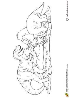 Dessin de deux dinosaures qui se combattent, à colorier