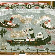View of the Globe from the Thames foreshore image size Tugboats, Work Inspiration, New Work, Printmaking, Illustrators, Evans, Globe, Illustration Art, Artists