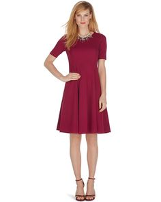 White House | Black Market Elbow Sleeve Seamed Ponte Fit and Flare Dress #whbm - I have this and it's really cute on.  Even with combat boots.