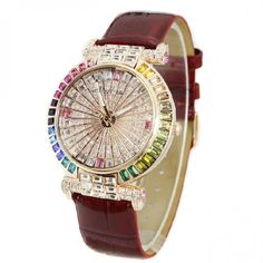 Fashion Color Crystal Bezel With Leather Belt Women's Watch, Four Colors - USD $149.95