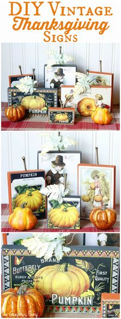 DIY Vintage Thanksgiving Signs - Fun Fall Craft, love the Pumpkin!
