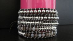 ice cream when the sky is grey: DIY: How To Make Chan Luu Style Women's 5 Wrap Bracelet - Botswana Agate Mix Wrap Bracelet With Sterling Silver On Natural Grey Leather