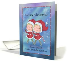 Merry Christmas twin Granddaughters with Santa suits card