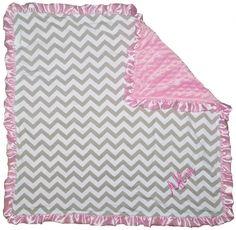 Gray Light Pink Chevron Minky Blanket   Sparkle in Pink