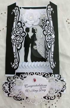 Wedding OOAK Handmade Congratulations Wedding Day Black and White Gatefold Card by HydeParkHill on Etsy Wedding Day Cards, Wedding Cards Handmade, Wedding Anniversary Cards, Tattered Lace Cards, Engagement Cards, Wedding Scrapbook, Congratulations Card, Heartfelt Creations, Love Cards