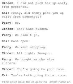 They named their daughter Peony! Lunar Chronicles Quotes, Lunar Chronicles Cinder, Ya Books, Good Books, Teen Books, Marissa Meyer Books, Book Memes, Book Fandoms, Book Nerd