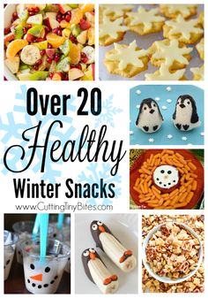 Healthy snacks for kids with a winter theme! Snowmen, penguins, snowflakes, ice skaters, and more! Plenty of fruit and veggie choices, great for school parties.