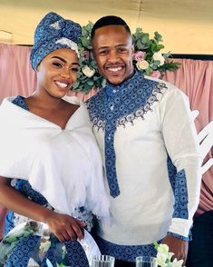 Image may contain: 2 people, people standing South African Wedding Dress, African Traditional Wedding Dress, African Fashion Traditional, African Wedding Attire, African Attire, African Wear, Couples African Outfits, African Dresses For Kids, Couple Outfits