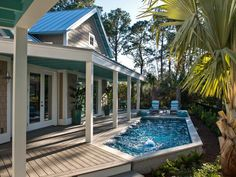 HGTV Smart Home...The pool blends seamlessly into its surroundings, with coping aligned flush with composite decking.