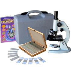M60C-ABS-PS100-WM: 40x-1000x Metal Frame Student Microscope with ABS Case, 100pc Specimens & Book