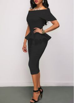Black Peplum Waist Off the Shoulder Sheath Dress  on sale only US$28.27 now, buy cheap Black Peplum Waist Off the Shoulder Sheath Dress  at liligal.com