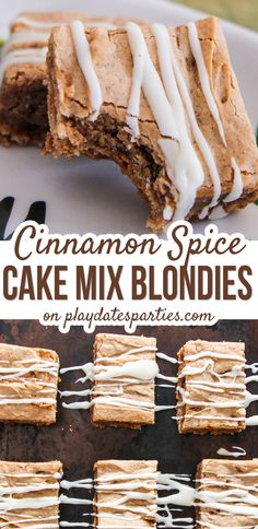 Looking for the best unique Christmas desserts that are easy to make and perfect for a crowd Then you have to try this cinnamon spice cake mix blondies recipe with eggnog. Fall Dessert Recipes, Desserts For A Crowd, Köstliche Desserts, Delicious Desserts, Desserts Faciles, Party Recipes, Holiday Recipes, Cinnamon Cake, Cinnamon Spice
