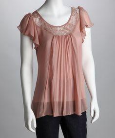Peach Pleated Lace Angel-Sleeve Top, By: Rain