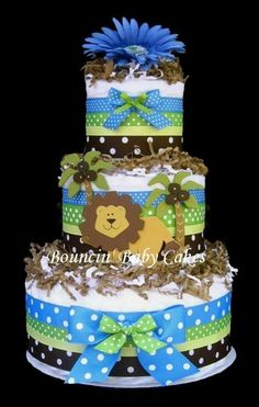 jungle theme diapet cake.com | King of the Jungle Diaper Cake Baby Shower Centerpiece by tmomma4
