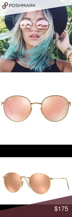 BRAND NEW!!! Ray Ban Round Sunglass Ray Ban Round Sunglass Matte Gold Pink Mirrored RB 3447 112/Z2 , just received but doesn't work with my face shape- never worn Ray-Ban Accessories Sunglasses
