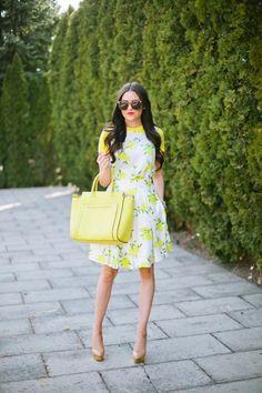 Sitron Print Dress er den ultimate må-ha for denne sommeren - Beste Frisyrer Lemon Print Dress, Spring Fashion, Autumn Fashion, Estilo Blogger, Kate Spade, Fashion Blogger Style, Pink Peonies, Glamour, Look Chic