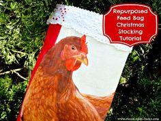 Repurposed Feed Bag Christmas Stocking Tutorial