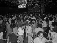 "Designing Club Culture 1960 - Today' at the Vitra Design Museum, Basel, Germany. ""I have been to so many clubs in my life I have lost count!"" Photo: 'Dance floor at Paradise Garage' New York, 1978 © Bill Bernstein Studio 54, At The Disco, Larry Levan, Paradise Garage, Nightclub Design, Night Fever, Party Scene, House Music, Dance Music"
