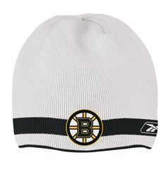 f68f08791ad119 Boston Bruins White/Black Reebok NHL Reversible 560 Knit Hat