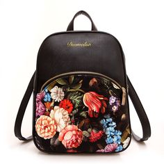 Vintage Women's Girl's Floral Leather Backpack Satchel Shoulder Travel Rucksack #Unbranded #Backpack