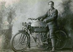 1913: when riding a motorbike wearing a suit and a bowtie was considered normal, maybe even cool.