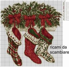 Cross Stitch Christmas Stockings, Xmas Cross Stitch, Christmas Cross, Cross Stitch Charts, Cross Stitch Patterns, Christmas Diy, Diy And Crafts, Arts And Crafts, Christmas Embroidery