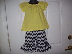 Girls Peasant Shirt & Chevron Ruffle Capris Set by MacKenzieNoelle, $30.00