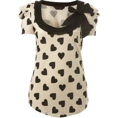 Cream Heart Bow Tee ($26) ❤ liked on Polyvore featuring tops, t-shirts, shirts, blusas, maglie, women's clothing, tee-shirt, miss selfridge, brown tee and cotton t shirt