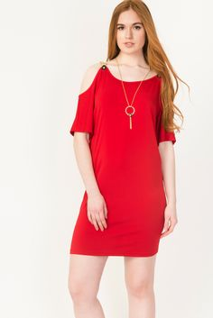 Cold Shoulder Sheath Dress With Chain Detail