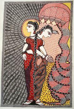 'Women: Radiant yet submissive' by Shalinee Kumari, 2009 Indian Artwork, Indian Folk Art, Indian Art Paintings, Madhubani Art, Madhubani Painting, Indian Traditional Paintings, Karla Gerard, Indian Crafts, Religious Art