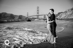Engagement Session with Natalie and Ry and Denver © 2015 Arrowood Photography. http://www.arrowoodphotography.com. golden gate bridge; san francisco; engagement photos with  husky dog. trash the dress