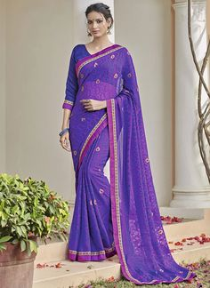 Floral Lace Work Blue Faux Chiffon Printed Saree