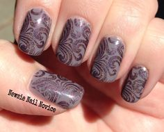 a-england Sleeping Palace stamped over Essie Chinchilly using MoYou Sailor 04 plate