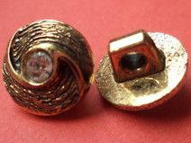 6 STRASSKNÖPFE gold 11mm (1132) Blusenknöpfe Knopf