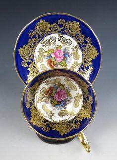 Vintage Bailey Aynsley Roses Cobalt Gold Porcelain Cup Saucer English China   eBay