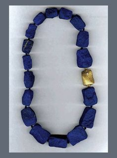 N-2468 Cleaved Afghan Lapis with an 18K yellow Gold and Diamond clasp
